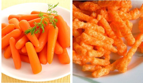 cheetosy i marchewki - znajdź różnice